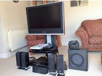 Panasonic 32 inch LCD TV (TX 32LXD70) Black Stand/Recorder/Surround System/Blueray Player