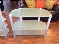 Frosted glass TV corner unit, display corner unit and coffee table in excellent condition