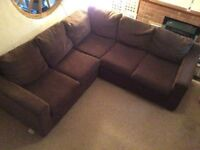 BROWN FABRIC CORNER SOFA - MUST GO ASAP - CHEAP FAST DELIVERY - £325