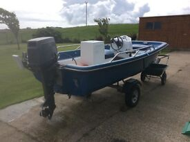 For sale , 15ft dory on trailer with 30 hp suzuki outboard