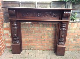 Large solid wood carved Fireplace