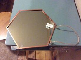 Hexagonal copper hanging wall mounted mirror