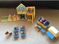 Peppa Pig house, school and camper van and figures