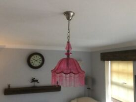 Laura Ashley light fitting as new pink glass