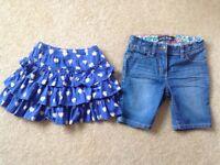 Mini Boden , denim shorts & skort (skirt with hidden shorts)