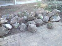 Large pile of large rockery stones