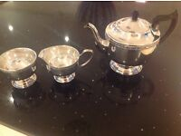 Silver Plated Tea Pot, sugar bowl and milk jug