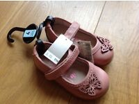 Next Leather Girls Shoe Size 4 Dusty Pink
