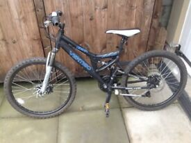 Boys Mountain Bike. 24 Inch Wheels, 21 Speed, Disc Brakes, Front and Rear Suspension