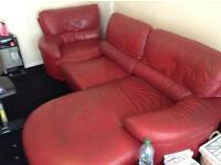 Red soft leather Italian corner sofa