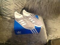 Grey adidas gazelle size 6 uk new in box