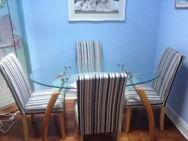 4 Italian pin striped high back dinning room chairs brand new still boxed up
