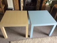 Ikea Lack side/coffee tables, 55cms square, one pale blue, the other wood effect.