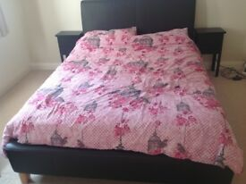 Lovely double bed frame - leather effect frame, bed head & foot and metal/wood base