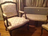 Elegant French reproduction armchairs and footstool