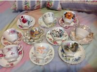Pretty selection of 10 mismatched vintage tea cups and saucers. Good condition. Nicely coordinated!