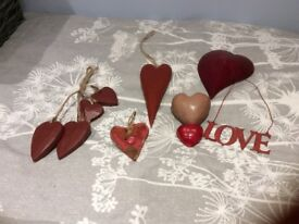 A selection of decorative hearts