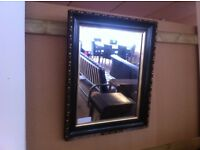 good condition!!! Black framed polished glass mirror