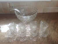 Punch bowl set with 10 glasses