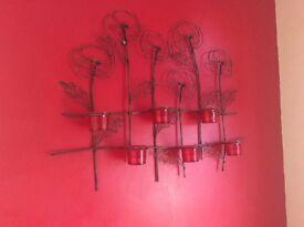 Poppy wall art with tea light holders