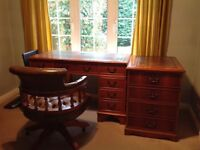 Chesterfield Captains Chair with Twin Leather-topped Pedestal Desk & Filing Cabinet both with Keys