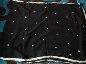 Beautiful black Saree with silver border