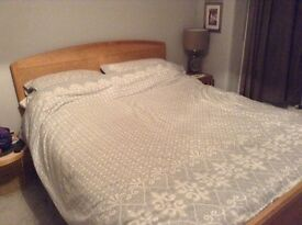King Size wooden bed frame (with/without mattress)