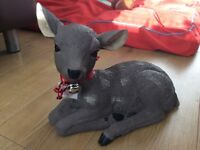 Concrete garden fawn ornament
