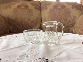 WebbCorbett cur glass sugar basin and cream jug