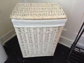 Wicker loundry basket and bin set