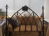 GOTHIC STYLE WROUGHT IRON BLACK WITH SOME GOLD BED HEAD - DOUBLE SIZE