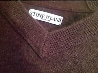 Xl males brown stone island knitted v neck jumper
