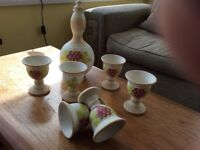 Pottery wine goblets and carafe