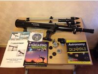 Celestron Telescope Powerseeker 60AZ Hardly Used With Astronomy Books