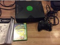 Xbox Original with wires, controller and manual
