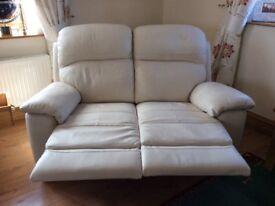 Cream leathertwo seater reclining sofa