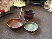 Copper pans and scuttle