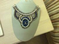 Woman's blue jewelled necklace, new