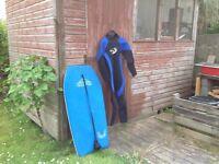 Full wetsuit and Gul 42 inch Bodyboard