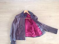 Lovely vintage brown leather jacket size 8