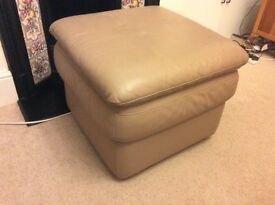 Beige leather puffe/foot stool/stool