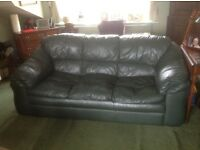 Leather settee 3 seater Emerald Green