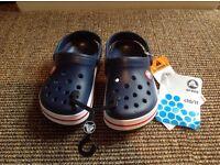 Kids crocs BNWT size 10/11 navy blue
