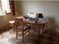 Ex John Lewis table in light beech with six chairs...