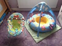 Baby bouncer and Winnie the Pooh baby gym