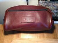 Barbour brown leather wash bag