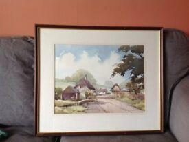 Wiltshire Thatch, Teffon Evias, by Kent artist William (Billy) Wyatt