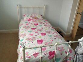 White girls single metal bed frame