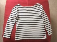 JOULES girls long sleeve top, age 7. Navy & white.