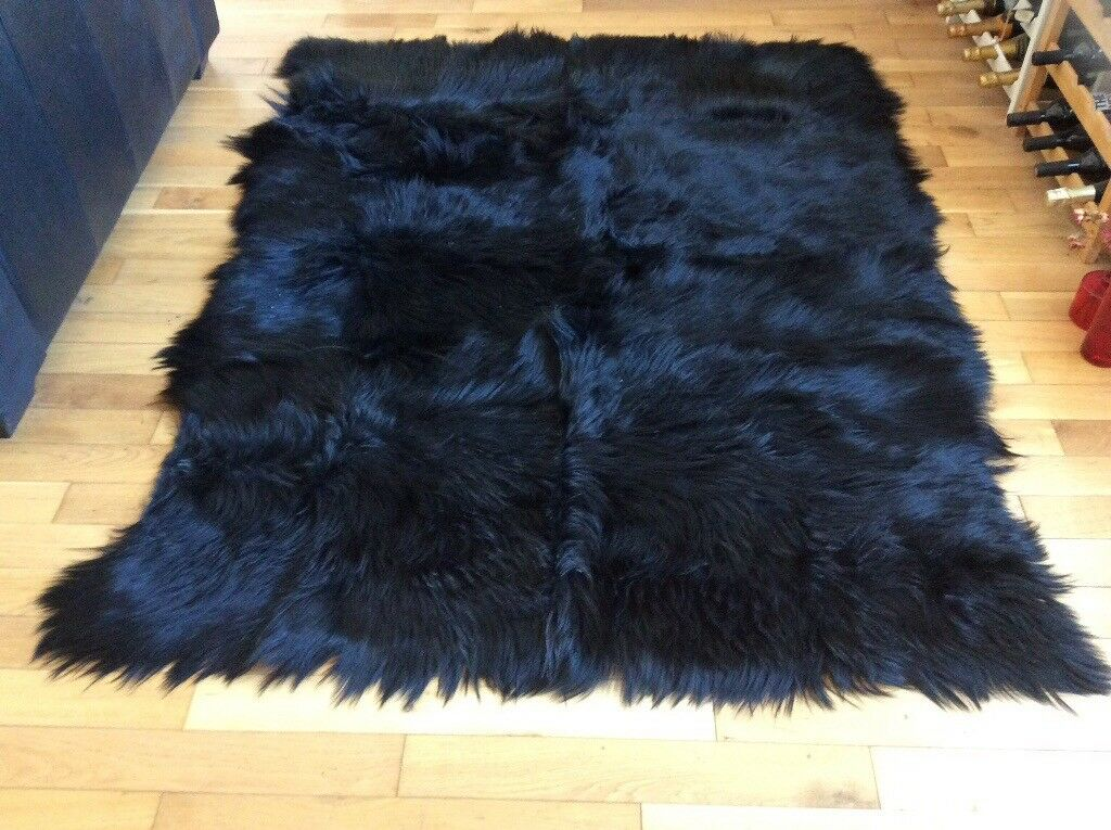 Large thick pile goat skin rug | in